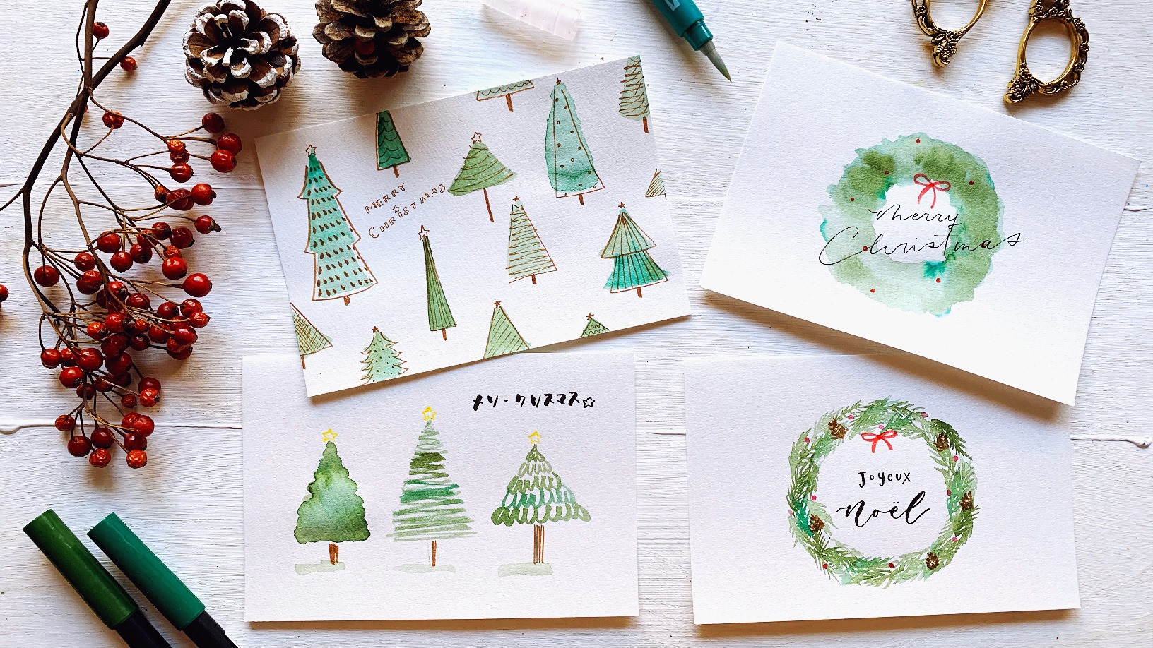 Abtと水筆で簡単に描けるクリスマスカード4種 Tombow Fun Art Studio トンボ鉛筆